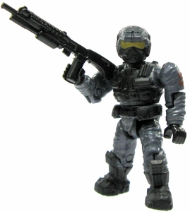 Halo Wars Mega Bloks LOOSE Mini Figure UNSC Blue Steel Marine with Shotgun