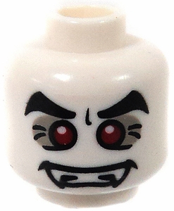 LEGO LOOSE Head White Male Vampire with Red Eyes & Fangs