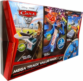Disney / Pixar CARS 2 Movie Exclusive Mega Track Value Pack [Spy Jet Escape, Tokyo Spinout & Barrel Blowout with Mater & McQueen Die Cast Cars]