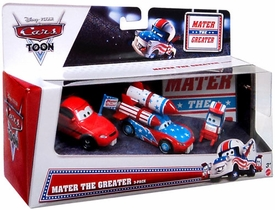 Disney / Pixar CARS Exclusive 1:55 Die Cast 3-Pack Mater the Greater [Big Fan, Daredevil McQueen & Lug]
