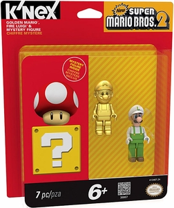 Super Mario K'NEX Mini Figure 3-Pack Golden Mario, Fire Luigi & Mystery Figure