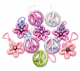 goloops! Friends Charms for Rainbow Band Loom Bracelets Glitter Peace and Flower Charms (10 Charms)