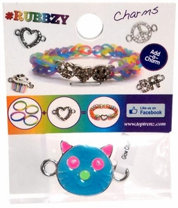 Undee Bandz Rubbzy Enamel Glow-in-the-Dark Rubber Band Bracelet Charm Blue Cat