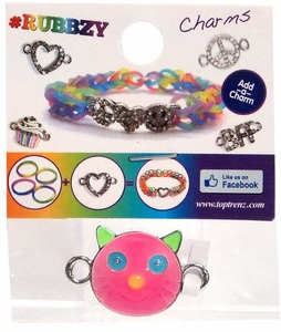 Undee Bandz Rubbzy Enamel Glow-in-the-Dark Rubber Band Bracelet Charm Pink Cat