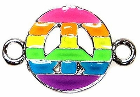 Undee Bandz Rubbzy Enamel Glow-in-the-Dark Rubber Band Bracelet Charm Rainbow Peace