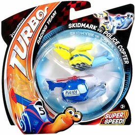 Turbo Movie Vehicle 2-Pack Skidmark vs Police Copter
