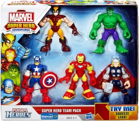 Marvel Playskool Super Hero Adventures Exclusive Super Hero Team 5-Pack Action Figures [Wolverine, Hulk, Captain America, Iron Man & Thor]