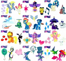 My Little Pony Friendship is Magic Single Dog Tag Set of 12 Tattoo Cards