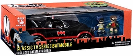 Batman Mezco Toyz Mez-Itz Action Figure 1966 Batmobile, 2 Inch Batman & Robin Mez-Itz