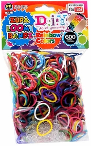 D.I.Y. Do it Yourself Bracelet Zupa Loomi Bandz 600 Rainbow Rubber Bands with 'S' Clips
