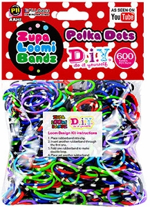 D.I.Y. Do it Yourself Bracelet Zupa Loomi 600 Polka Dots Rubber Bands with 'S' Clips