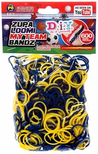 D.I.Y. Do it Yourself Bracelet Zupa Loomi My Team Bandz 600 Blue & Yellow Rubber Bands with Hook Tool & 'S' Clips