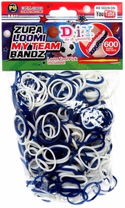 D.I.Y. Do it Yourself Bracelet Zupa Loomi My Team Bandz 600 Blue & White Rubber Bands with Hook Tool & 'S' Clips