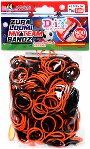 D.I.Y. Do it Yourself Bracelet Zupa Loomi My Team Bandz 600 Black & Orange Rubber Bands with Hook Tool & 'S' Clips