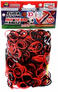 D.I.Y. Do it Yourself Bracelet Zupa Loomi My Team Bandz 600 Black & Red Rubber Bands with Hook Tool & 'S' Clips