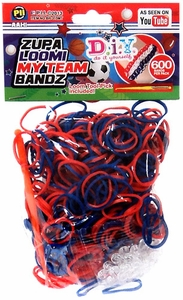 D.I.Y. Do it Yourself Bracelet Zupa Loomi My Team Bandz 600 Red & Blue Rubber Bands with Hook Tool & 'S' Clips
