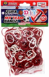 D.I.Y. Do it Yourself Bracelet Zupa Loomi My Team Bandz 600 Maroon & White Rubber Bands with Hook Tool & 'S' Clips