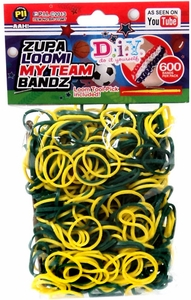D.I.Y. Do it Yourself Bracelet Zupa Loomi My Team Bandz 600 Green & Yellow Rubber Bands with Hook Tool & 'S' Clips