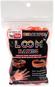 Colorful Loom Bandz 600 Orange Rubber Bands with 'S' Clips