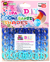 D.I.Y. Do it Yourself Bracelet Zupa Loomi 600 Shades Blue Rubber Bands with 'S' Clips
