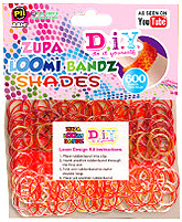 D.I.Y. Do it Yourself Bracelet Zupa Loomi 600 Shades Red Rubber Bands with 'S' Clips  Pre-Order ships April