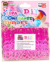 D.I.Y. Do it Yourself Bracelet Zupa Loomi 600 Shades Pink Rubber Bands with 'S' Clips