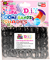 D.I.Y. Do it Yourself Bracelet Zupa Loomi 600 Shades Black Rubber Bands with 'S' Clips
