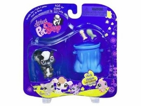 Littlest Pet Shop Portable Pet Skunk with Furry Tail & Garbage Pail