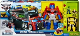 Transformers Rescue Bots Playskool Heroes Optimus Prime Rescue Trailer with Bonus Bumblebee & 2 Figures!