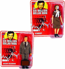 Bif Bang Pow! Six Million Dollar Man Set of Both Action Figures Oscar Goldman & Fembot
