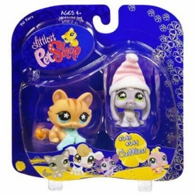 Littlest Pet Shop Pet Pairs Lop Ear Bunny with Cat in Winter Gear