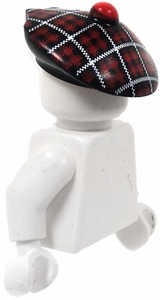 LEGO LOOSE Headgear Tartan Scottish Plaid Flat Cap with Pom Pom
