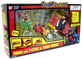 Teen Titans T-Vehicle Robin with T-Cycle and Turbo Mobile Hard to Find!