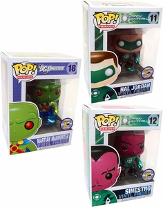 Funko POP! DC Universe Heroes SDCC 2011 San Diego Comic-Con Exclusive Set of 3 Vinyl Figures Sinestro, Hal Jordan & Martian Manhunter Only 480 Made!