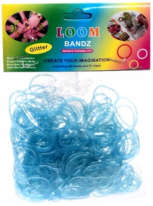 Rainbow Bandz Loom Bracelet 300 Light Blue Glitter Rubber Bands with 'S' Clips