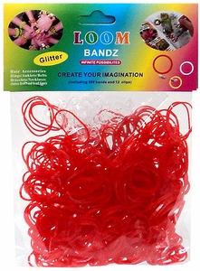 Rainbow Bandz Loom Bracelet 300 Red Glitter Rubber Bands with 'S' Clips