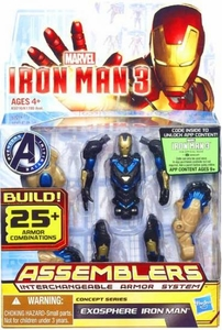 Iron Man 3 Assemblers Series 3 Action Figure Exo Sphere Iron Man [Blue & Gold]