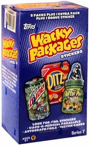 Topps Wacky Packages Series 7 Trading Card Stickers Value Box [6 Packs Plush 1 Bonus Sticker]