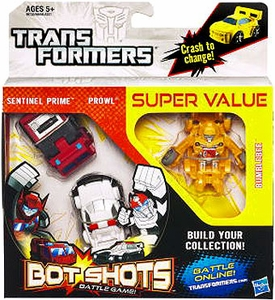 Transformers Bot Shots Battle Game Autobots 3-Pack Sentinel Prime, Prowl & Bumblebee