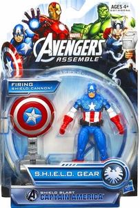 Marvel Avengers Assemble SHIELD GEAR Action Figure Shield Blast Captain America [Firing Shield Cannon!]