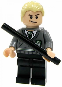 LEGO Harry Potter LOOSE Mini Figure Draco in Slytherin Uniform with Black Wand