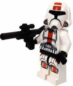 LEGO Star Wars LOOSE Mini Figure Republic Trooper with Brown Stripe & Blaster Rifle