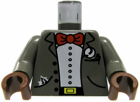 LEGO LOOSE  Gray Jacket with Red Bow Tie, Pen in Breast Pocket & Tissue in Side Pocket