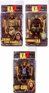 NECA Kick Ass 2 Series 2 Set of 3 Action Figures [Armored Kick-Ass, Unmasked Hit-Girl, Stars & Stripes]