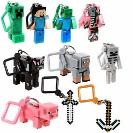 Minecraft Hangers Set of All 10 Figures [Steve, Zombie, Skeleton, Pigman, Creeper, Cow, Sheep, Pig, Sword & Pickaxe]