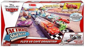 Disney / Pixar CARS Movie Action Shifters Playset Flo's V8 Cafe Dragstrip