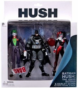 DC Collectibles Batman Hush Action Figure 3-Pack Joker, Stealth Batman & Harley Quinn