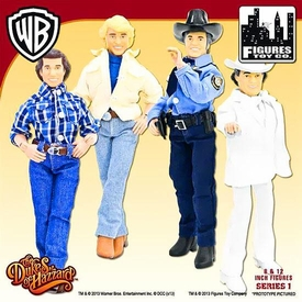 Dukes of Hazzard 8 Inch Series 1 Action Figure Set  Roscoe P. Coltrane, Bo Duke, Luke Duke & Boss Hogg Pre-Order ships March