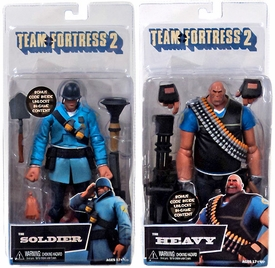 NECA Team Fortress 2 Set of Both BLU Series 2 Action Figures [Soldier & Heavy] BLOWOUT SALE!