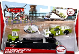 Disney / Pixar CARS Movie Pit Crew Launchers 1:55 Die Cast Racer Vitoline No. 61 & Pitty